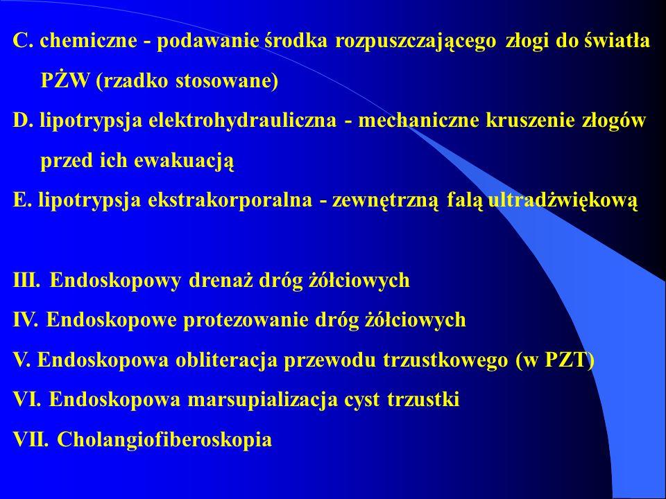 C. chemiczne - podawanie środka rozpuszczającego złogi do światła PŻW (rzadko stosowane) D. lipotrypsja elektrohydrauliczna - mechaniczne kruszenie zł