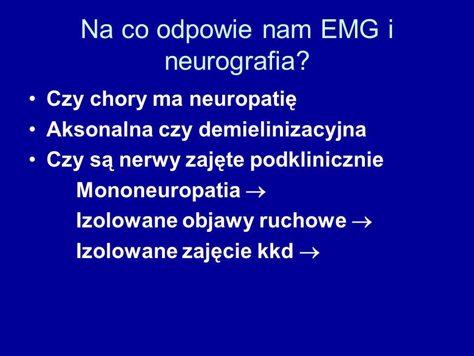 Na co odpowie nam EMG i neurografia? Czy chory ma neuropatię Aksonalna czy demielinizacyjna Czy są nerwy zajęte podklinicznie Mononeuropatia  Izolowa