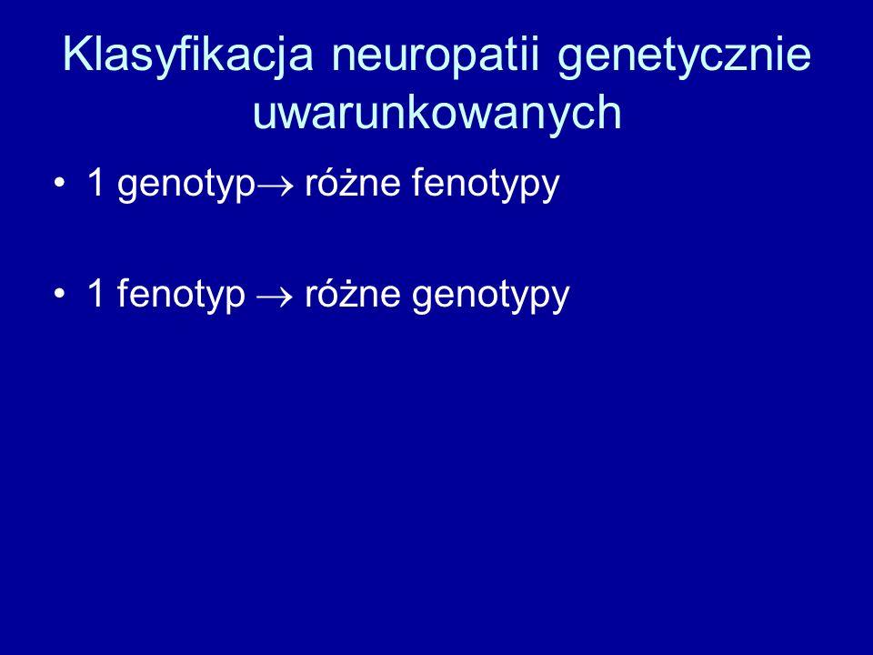 Klasyfikacja neuropatii genetycznie uwarunkowanych 1 genotyp  różne fenotypy 1 fenotyp  różne genotypy
