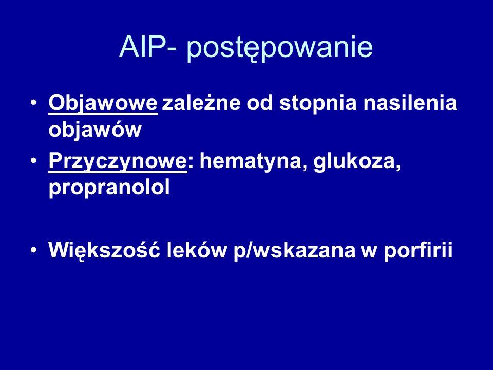 AIP- postępowanie Objawowe zależne od stopnia nasilenia objawów Przyczynowe: hematyna, glukoza, propranolol Większość leków p/wskazana w porfirii