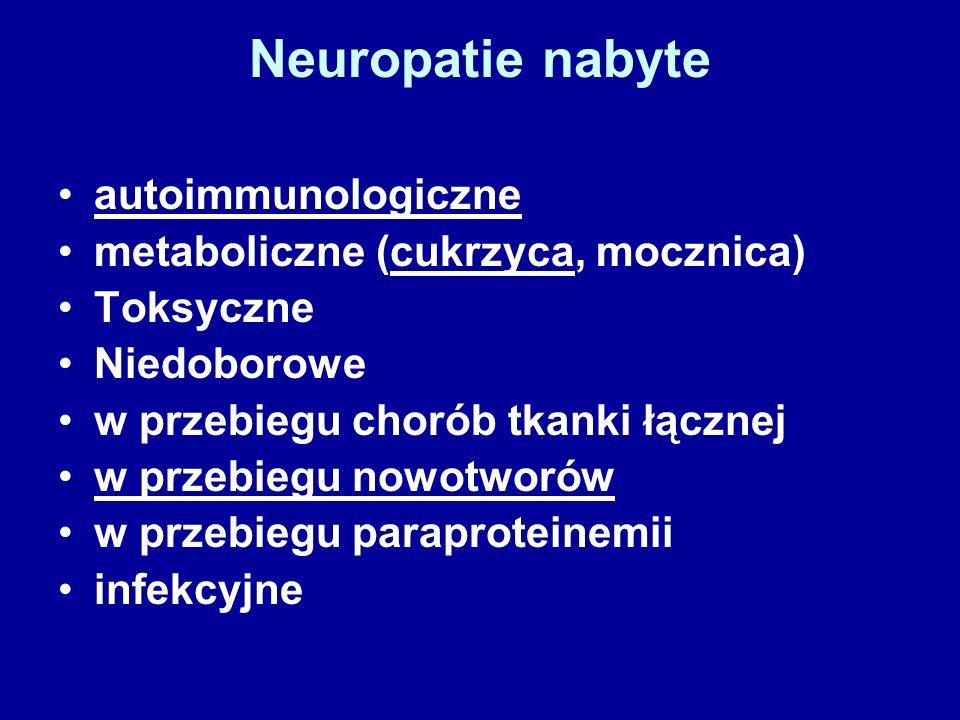Neuropatie nabyte autoimmunologiczne metaboliczne (cukrzyca, mocznica) Toksyczne Niedoborowe w przebiegu chorób tkanki łącznej w przebiegu nowotworów w przebiegu paraproteinemii infekcyjne
