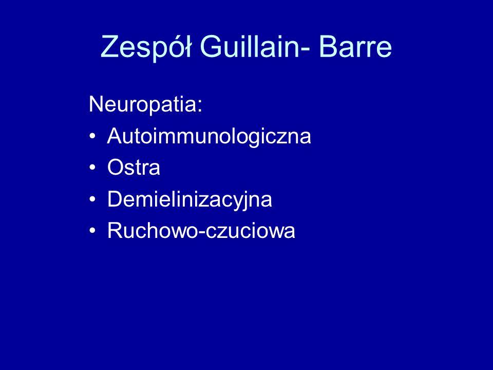 Zespół Guillain- Barre Neuropatia: Autoimmunologiczna Ostra Demielinizacyjna Ruchowo-czuciowa