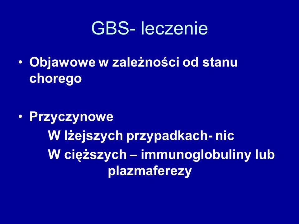 GBS- leczenie Objawowe w zależności od stanu chorego Przyczynowe W lżejszych przypadkach- nic W cięższych – immunoglobuliny lub plazmaferezy
