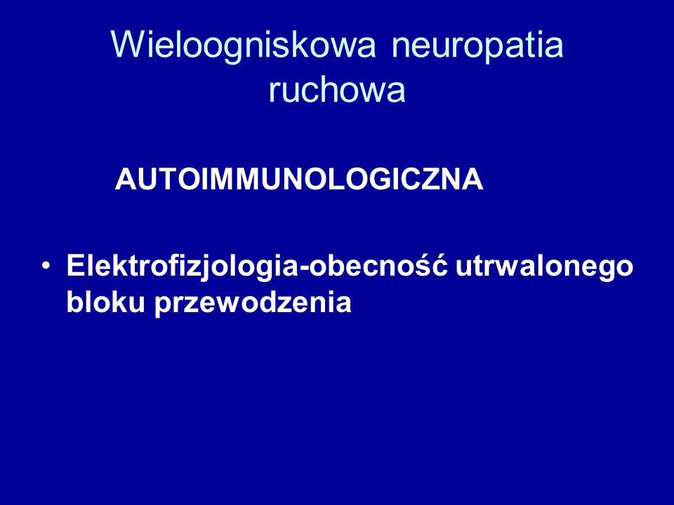 Wieloogniskowa neuropatia ruchowa AUTOIMMUNOLOGICZNA Elektrofizjologia-obecność utrwalonego bloku przewodzenia