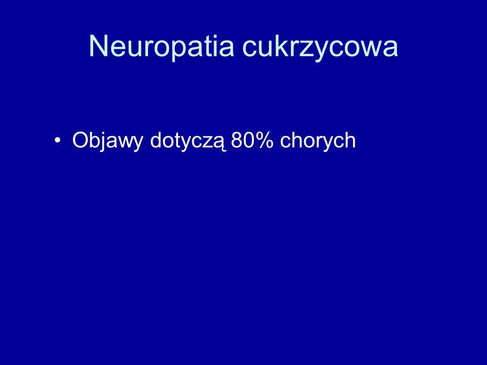 Neuropatia cukrzycowa Objawy dotyczą 80% chorych