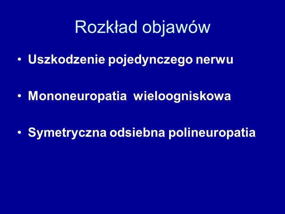 Rozkład objawów Uszkodzenie pojedynczego nerwu Mononeuropatia wieloogniskowa Symetryczna odsiebna polineuropatia