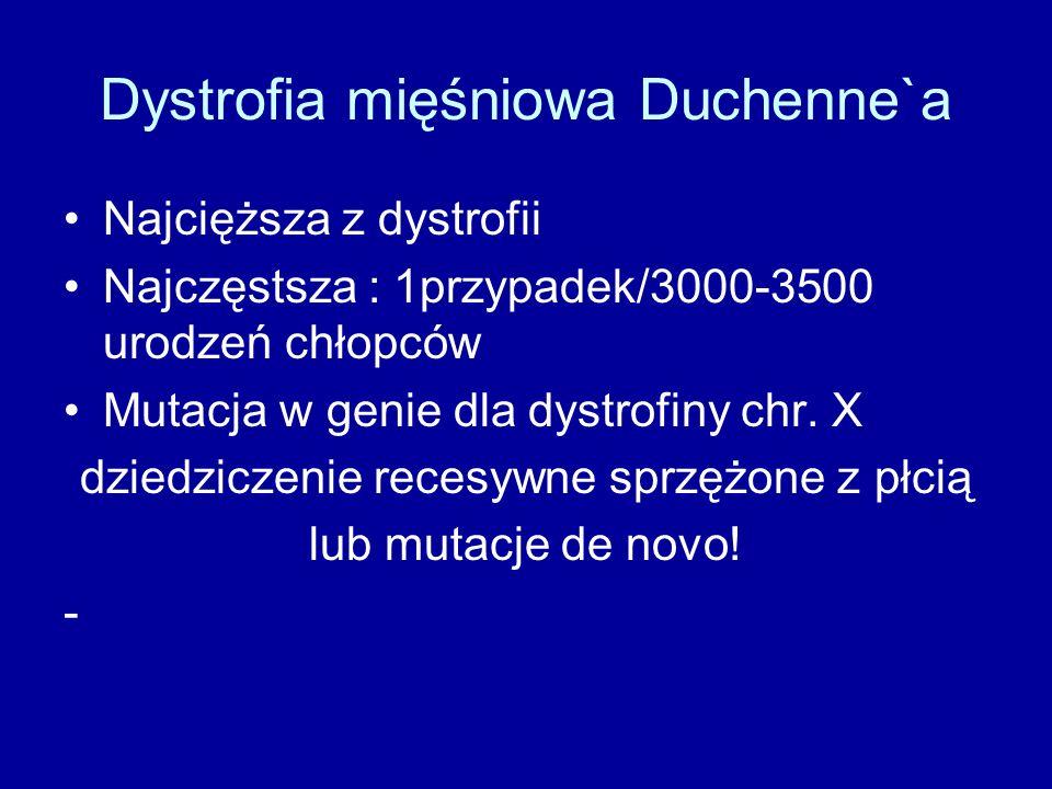 Dystrofia mięśniowa Duchenne`a Najcięższa z dystrofii Najczęstsza : 1przypadek/3000-3500 urodzeń chłopców Mutacja w genie dla dystrofiny chr. X dziedz