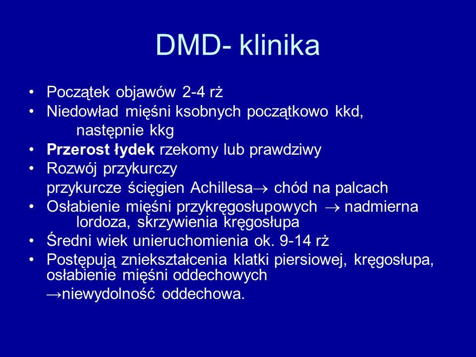 DMD- klinika Początek objawów 2-4 rż Niedowład mięśni ksobnych początkowo kkd, następnie kkg Przerost łydek rzekomy lub prawdziwy Rozwój przykurczy pr