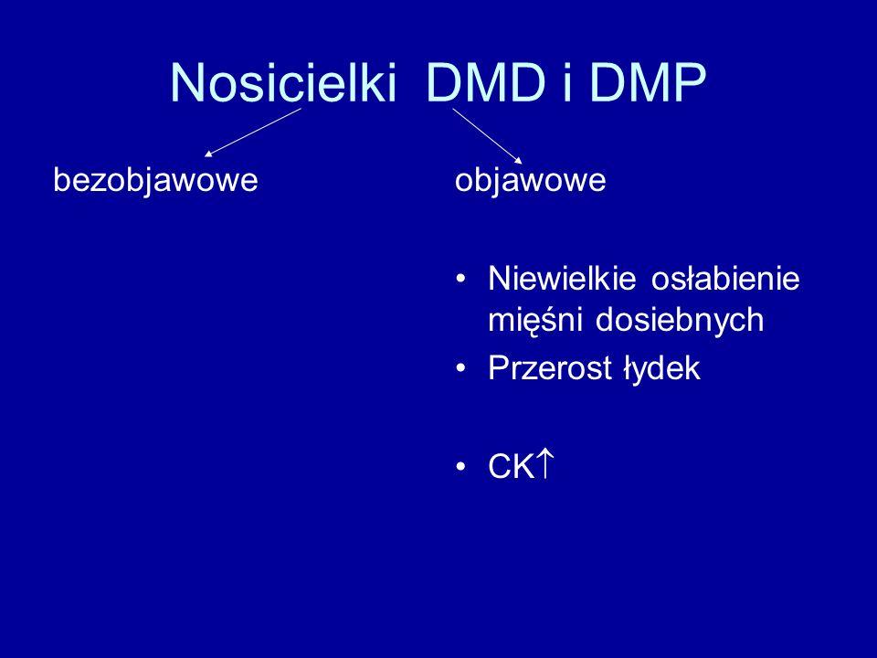 Nosicielki DMD i DMP bezobjawoweobjawowe Niewielkie osłabienie mięśni dosiebnych Przerost łydek CK 