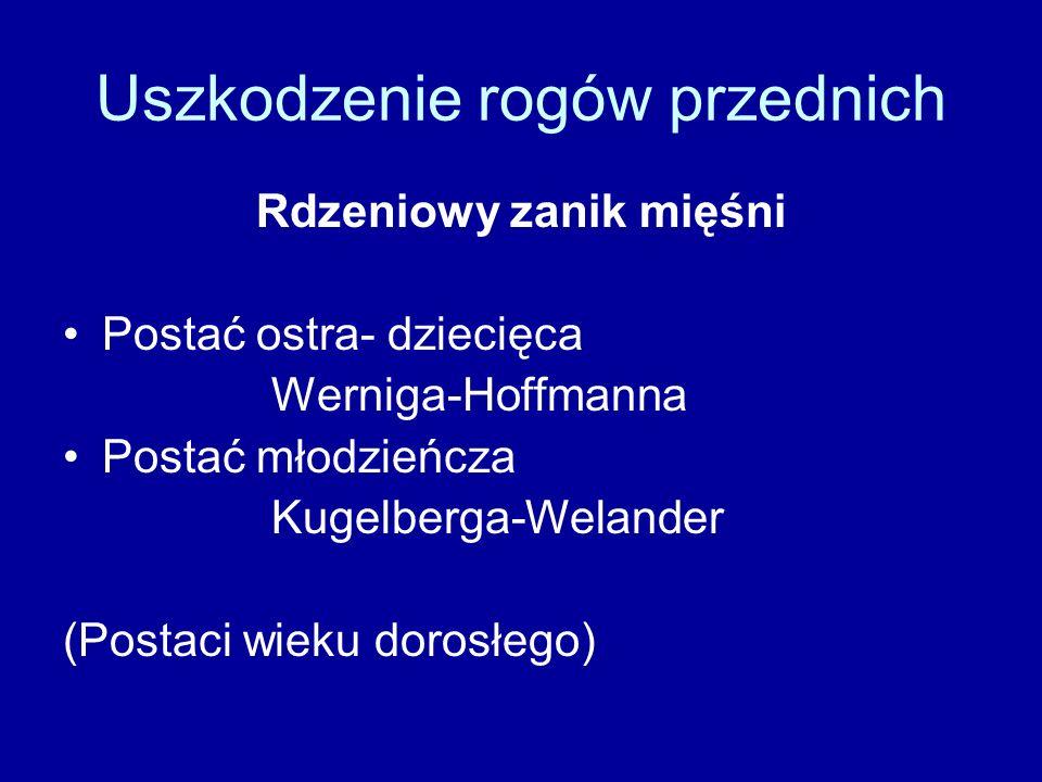 Uszkodzenie rogów przednich Rdzeniowy zanik mięśni Postać ostra- dziecięca Werniga-Hoffmanna Postać młodzieńcza Kugelberga-Welander (Postaci wieku dorosłego)