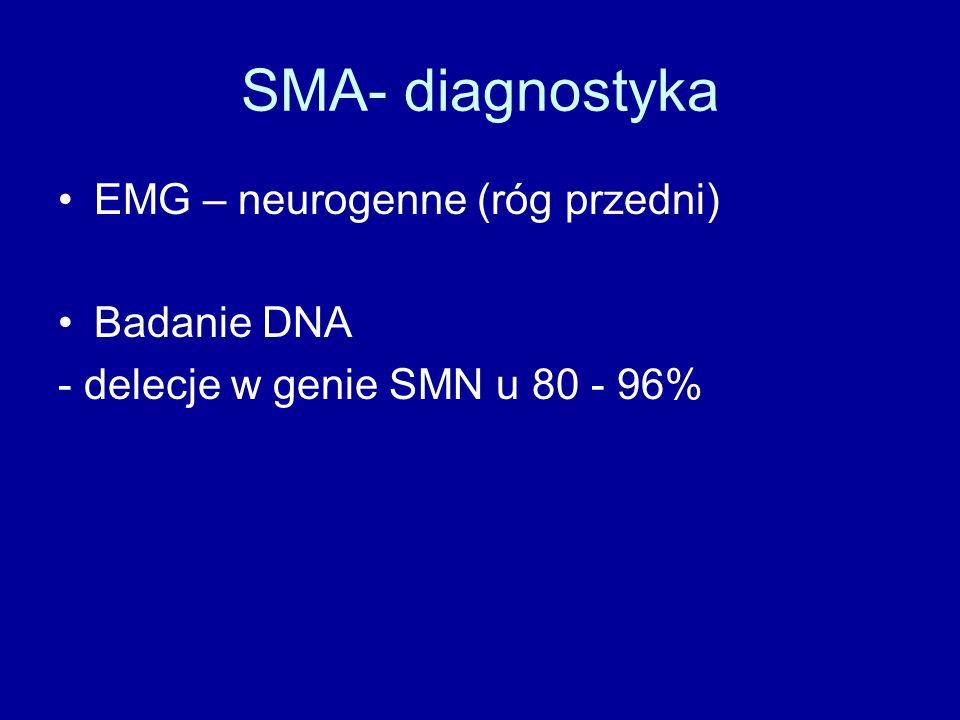 SMA- diagnostyka EMG – neurogenne (róg przedni) Badanie DNA - delecje w genie SMN u 80 - 96%