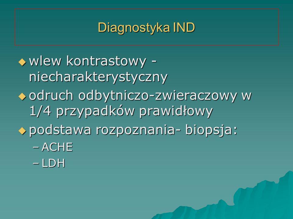 Diagnostyka IND  wlew kontrastowy - niecharakterystyczny  odruch odbytniczo-zwieraczowy w 1/4 przypadków prawidłowy  podstawa rozpoznania- biopsja: