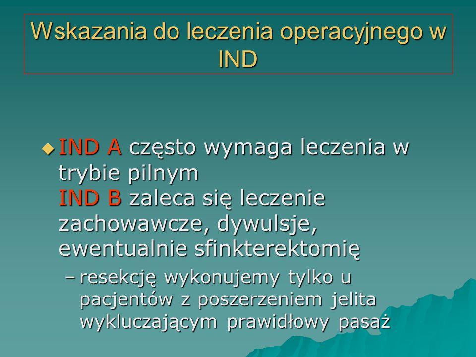 Wskazania do leczenia operacyjnego w IND  IND A często wymaga leczenia w trybie pilnym IND B zaleca się leczenie zachowawcze, dywulsje, ewentualnie s