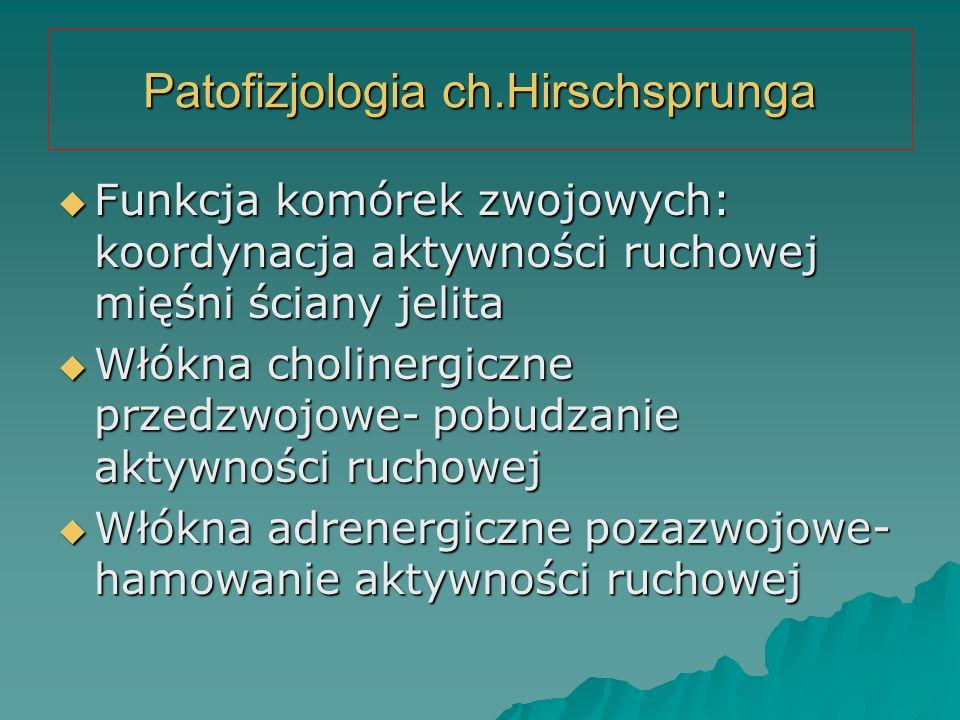 Patofizjologia ch.Hirschsprunga  Funkcja komórek zwojowych: koordynacja aktywności ruchowej mięśni ściany jelita  Włókna cholinergiczne przedzwojowe