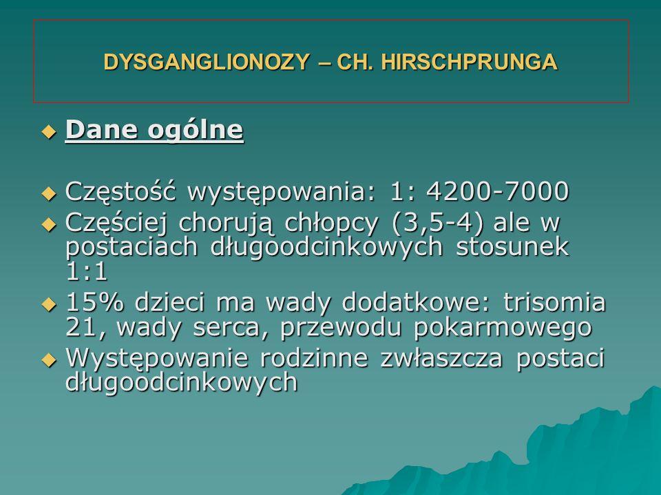 DYSGANGLIONOZY – CH. HIRSCHPRUNGA  Dane ogólne  Częstość występowania: 1: 4200-7000  Częściej chorują chłopcy (3,5-4) ale w postaciach długoodcinko