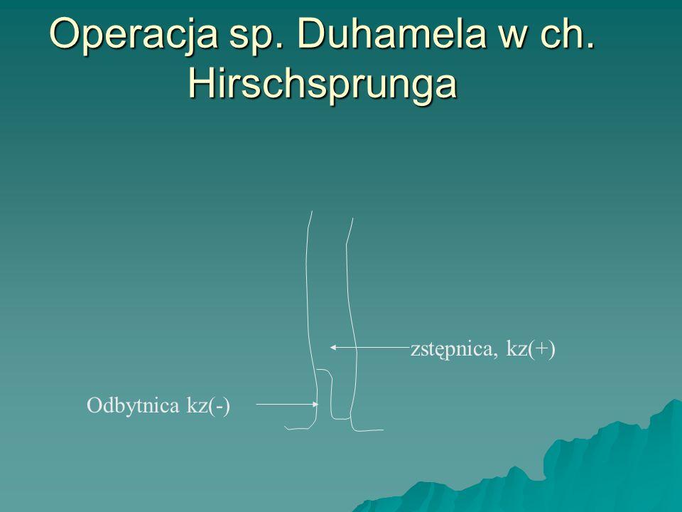 Operacja sp. Duhamela w ch. Hirschsprunga zstępnica, kz(+) Odbytnica kz(-)