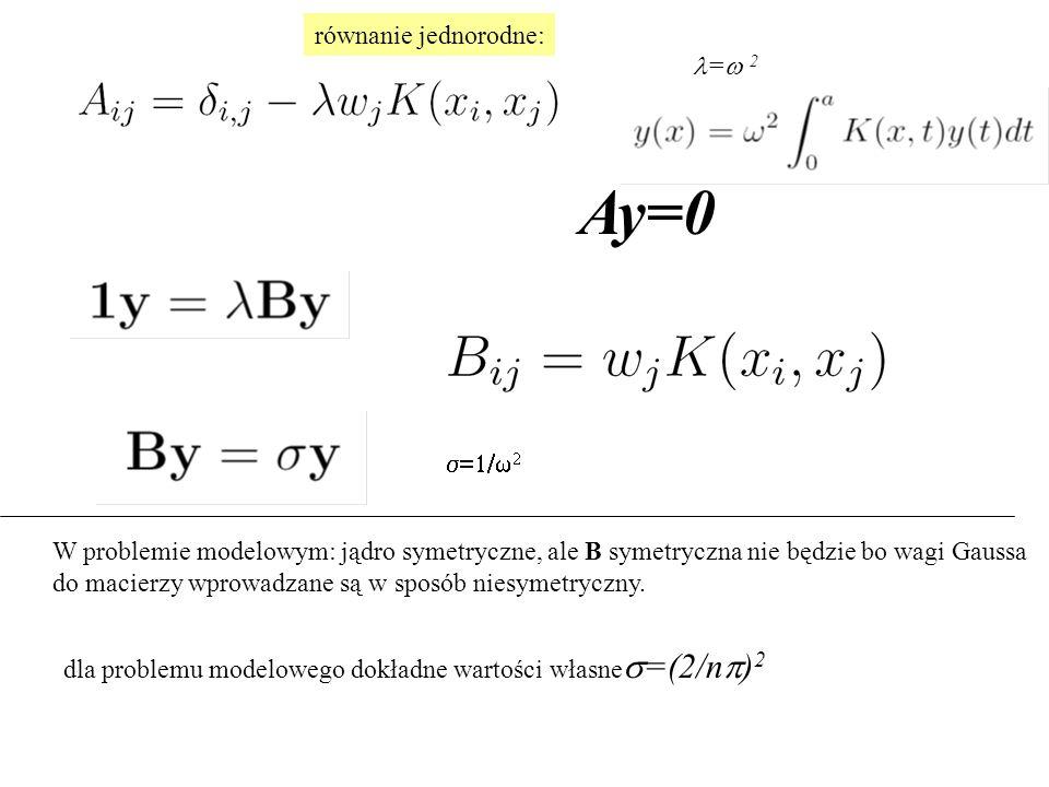 Ay=0 równanie jednorodne: dla problemu modelowego dokładne wartości własne  =(2/n  ) 2 W problemie modelowym: jądro symetryczne, ale B symetryczna nie będzie bo wagi Gaussa do macierzy wprowadzane są w sposób niesymetryczny.