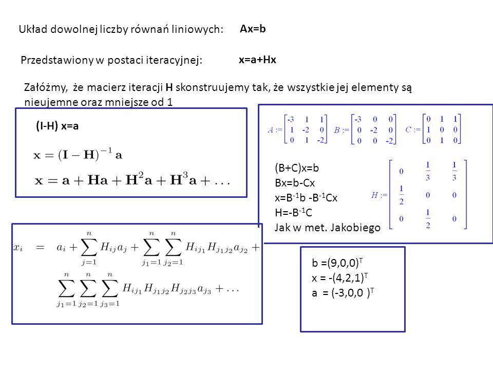 Układ dowolnej liczby równań liniowych: Ax=b Przedstawiony w postaci iteracyjnej: x=a+Hx Załóżmy, że macierz iteracji H skonstruujemy tak, że wszystkie jej elementy są nieujemne oraz mniejsze od 1 (I-H) x=a (B+C)x=b Bx=b-Cx x=B -1 b -B -1 Cx H=-B -1 C Jak w met.