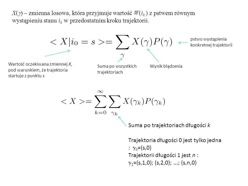 X(  ) – zmienna losowa, która przyjmuje wartość W(i k ) z pstwem równym wystąpieniu stanu i k w przedostatnim kroku trajektorii. Wartość oczekiwana z