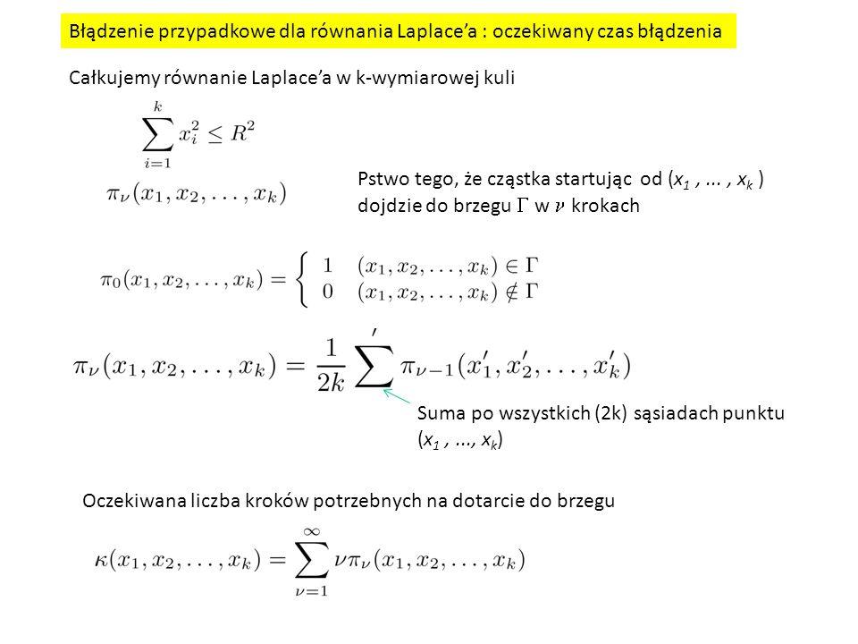 Błądzenie przypadkowe dla równania Laplace'a : oczekiwany czas błądzenia Całkujemy równanie Laplace'a w k-wymiarowej kuli Pstwo tego, że cząstka startując od (x 1,..., x k ) dojdzie do brzegu  w krokach Suma po wszystkich (2k) sąsiadach punktu (x 1,..., x k ) Oczekiwana liczba kroków potrzebnych na dotarcie do brzegu