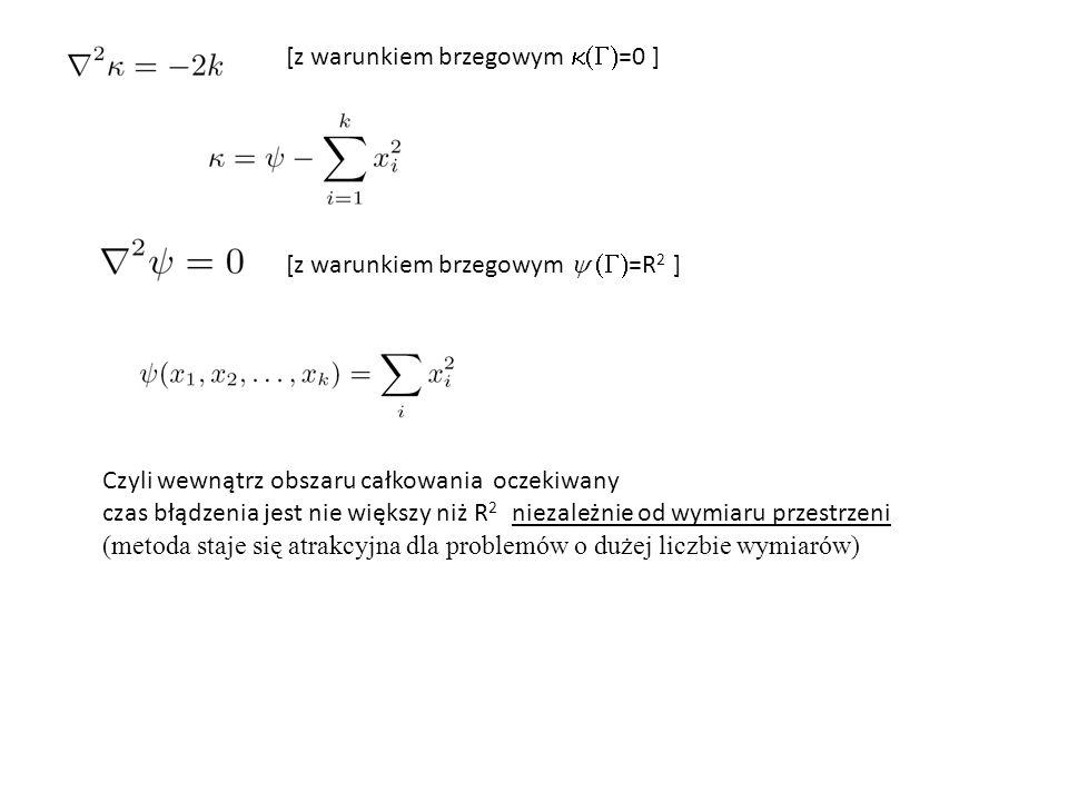 [z warunkiem brzegowym  =R 2 ] [z warunkiem brzegowym  =0 ] Czyli wewnątrz obszaru całkowania oczekiwany czas błądzenia jest nie większy niż R 2 niezależnie od wymiaru przestrzeni (metoda staje się atrakcyjna dla problemów o dużej liczbie wymiarów)