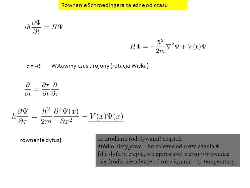  = -it Równanie Schroedingera zależne od czasu Wstawmy czas urojony (rotacja Wicka) równanie dyfuzji ze źródłami (odpływami) cząstek źródło nietypowe – bo zależne od rozwiązania   dla dyfuzji ciepła, w najprostszej wersji wprowadza się źródła niezależne od rozwiązania – tj.