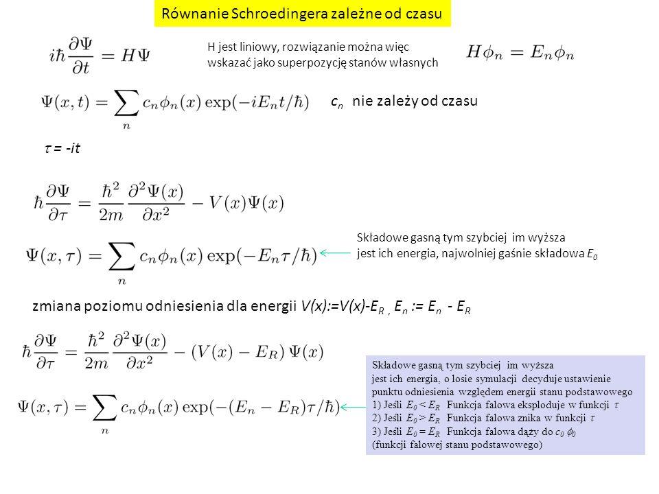  = -it Równanie Schroedingera zależne od czasu zmiana poziomu odniesienia dla energii V(x):=V(x)-E R, E n := E n - E R Składowe gasną tym szybciej im wyższa jest ich energia, najwolniej gaśnie składowa E 0 Składowe gasną tym szybciej im wyższa jest ich energia, o losie symulacji decyduje ustawienie punktu odniesienia względem energii stanu podstawowego 1) Jeśli E 0 < E R Funkcja falowa eksploduje w funkcji  2) Jeśli E 0 > E R Funkcja falowa znika w funkcji  3) Jeśli E 0 = E R Funkcja falowa dąży do c 0  0 (funkcji falowej stanu podstawowego) c n nie zależy od czasu H jest liniowy, rozwiązanie można więc wskazać jako superpozycję stanów własnych