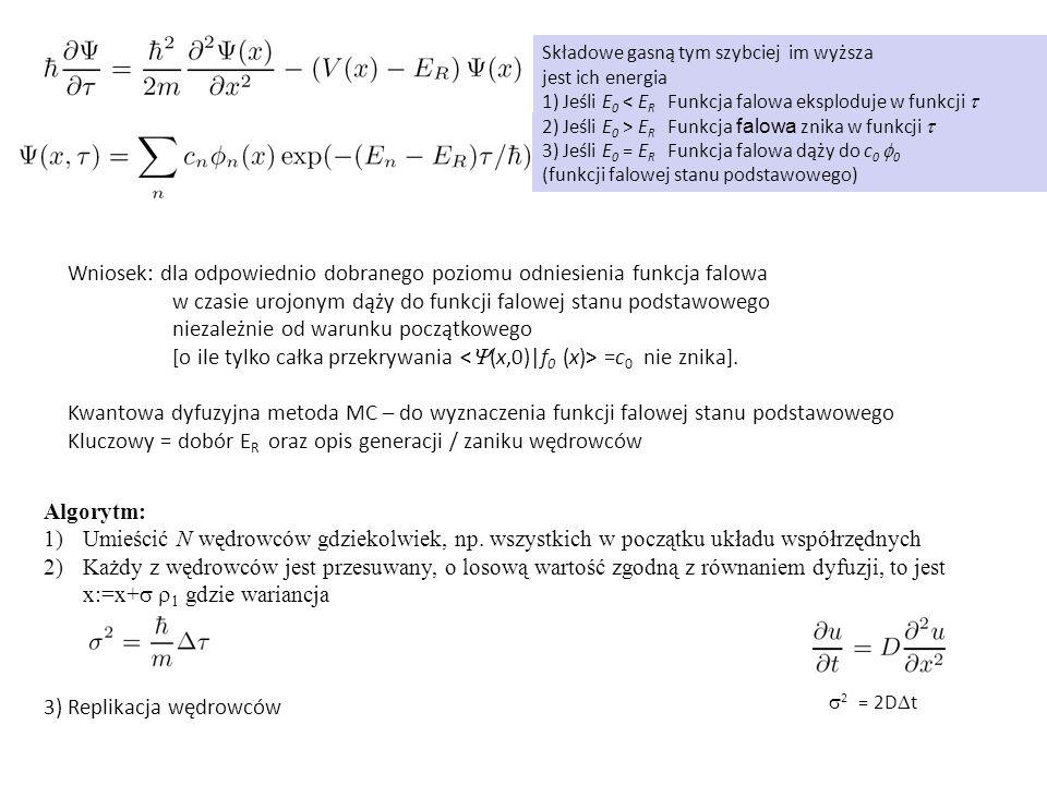 Wniosek: dla odpowiednio dobranego poziomu odniesienia funkcja falowa w czasie urojonym dąży do funkcji falowej stanu podstawowego niezależnie od warunku początkowego [o ile tylko całka przekrywania =c 0 nie znika].