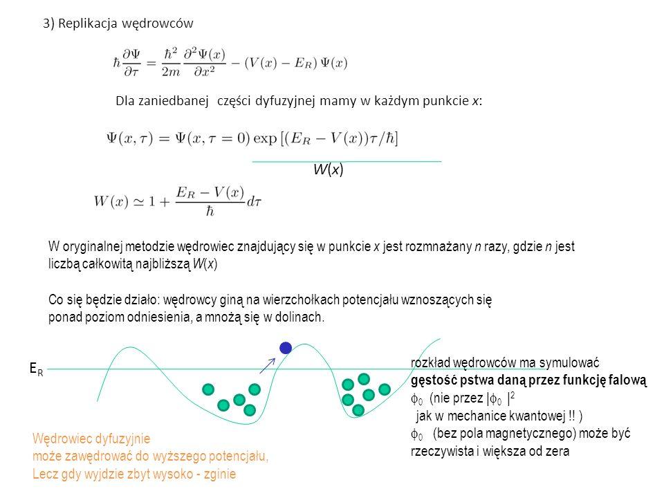 Dla zaniedbanej części dyfuzyjnej mamy w każdym punkcie x: W(x)W(x) W oryginalnej metodzie wędrowiec znajdujący się w punkcie x jest rozmnażany n razy, gdzie n jest liczbą całkowitą najbliższą W ( x ) Co się będzie działo: wędrowcy giną na wierzchołkach potencjału wznoszących się ponad poziom odniesienia, a mnożą się w dolinach.