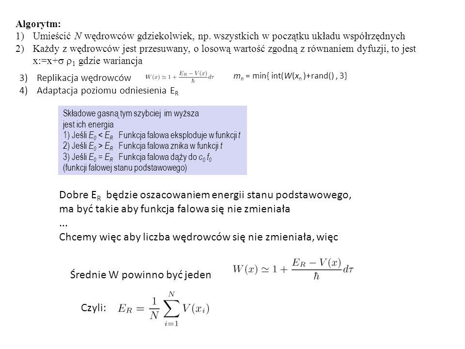 Algorytm: 1)Umieścić N wędrowców gdziekolwiek, np. wszystkich w początku układu współrzędnych 2)Każdy z wędrowców jest przesuwany, o losową wartość zg