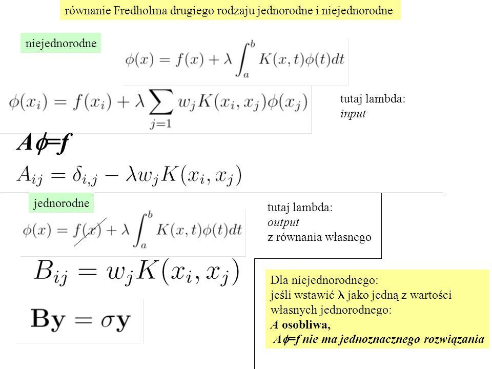 równanie Fredholma drugiego rodzaju jednorodne i niejednorodne A  =f tutaj lambda: input niejednorodne jednorodne tutaj lambda: output z równania własnego Dla niejednorodnego: jeśli wstawić jako jedną z wartości własnych jednorodnego: A osobliwa, A  =f nie ma jednoznacznego rozwiązania