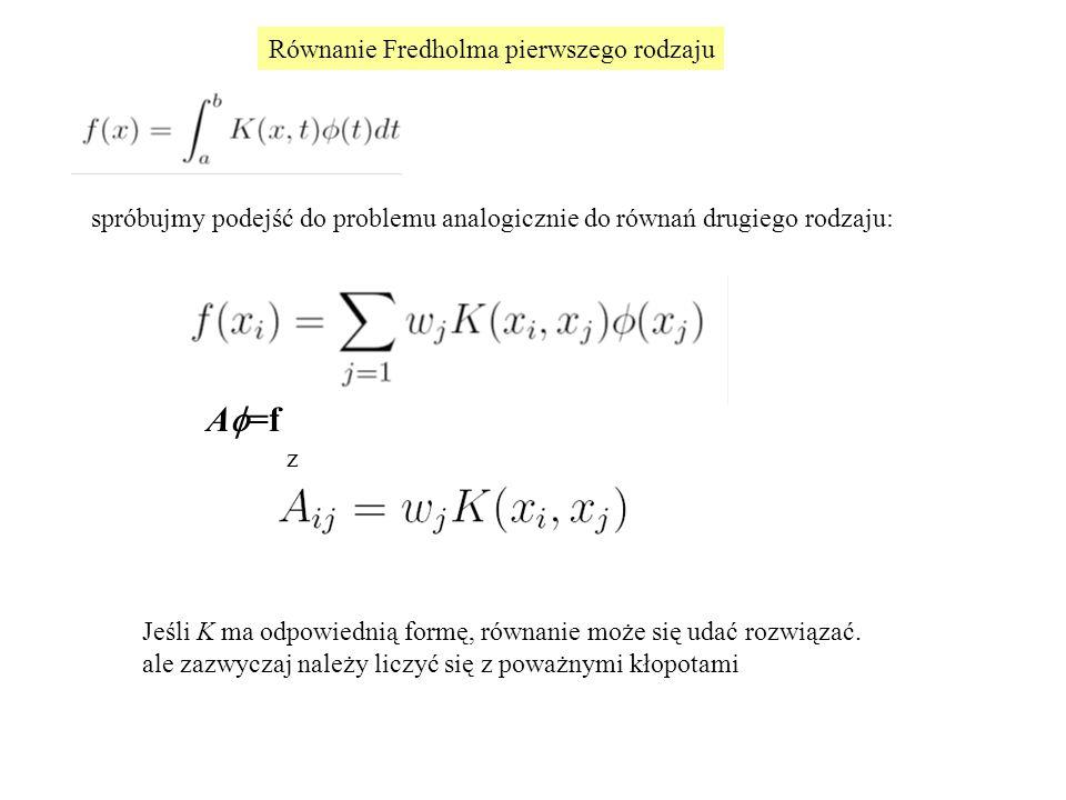 Równanie Fredholma pierwszego rodzaju Weźmy skrajnie niemądry przykład, aby zilustrować pewien problem numeryczny K(x,t)=1 spróbujmy podejść do problemu analogicznie do równań drugiego rodzaju: A  =f z Jeśli K ma odpowiednią formę, równanie może się udać rozwiązać.