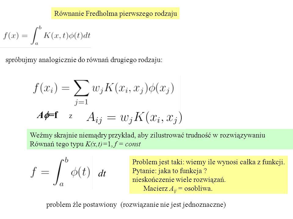Równanie Fredholma pierwszego rodzaju Weźmy skrajnie niemądry przykład, aby zilustrować trudność w rozwiązywaniu Równań tego typu K(x,t)=1, f = const spróbujmy analogicznie do równań drugiego rodzaju: A  =f z dt Problem jest taki: wiemy ile wynosi całka z funkcji.
