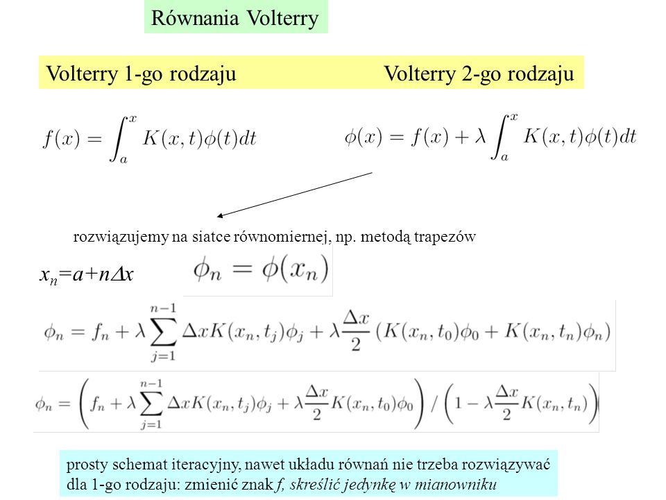 Równania Volterry Volterry 1-go rodzaju Volterry 2-go rodzaju rozwiązujemy na siatce równomiernej, np. metodą trapezów x n =a+n  x prosty schemat ite