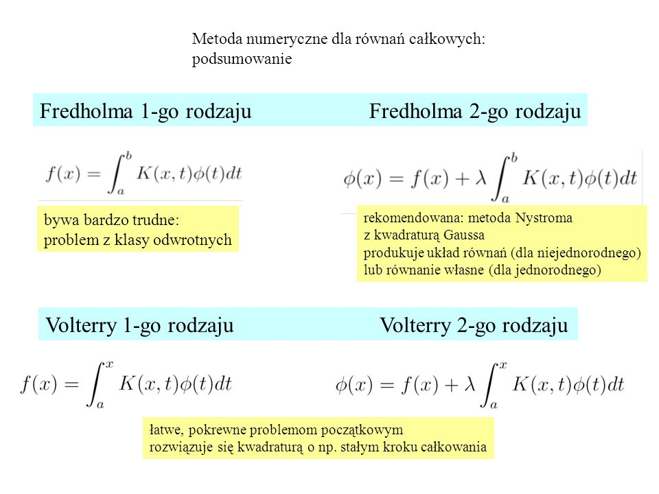 Metoda numeryczne dla równań całkowych: podsumowanie Fredholma 1-go rodzajuFredholma 2-go rodzaju Volterry 1-go rodzaju Volterry 2-go rodzaju bywa bardzo trudne: problem z klasy odwrotnych rekomendowana: metoda Nystroma z kwadraturą Gaussa produkuje układ równań (dla niejednorodnego) lub równanie własne (dla jednorodnego) łatwe, pokrewne problemom początkowym rozwiązuje się kwadraturą o np.