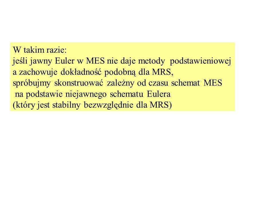 W takim razie: jeśli jawny Euler w MES nie daje metody podstawieniowej a zachowuje dokładność podobną dla MRS, spróbujmy skonstruować zależny od czasu schemat MES na podstawie niejawnego schematu Eulera (który jest stabilny bezwzględnie dla MRS)