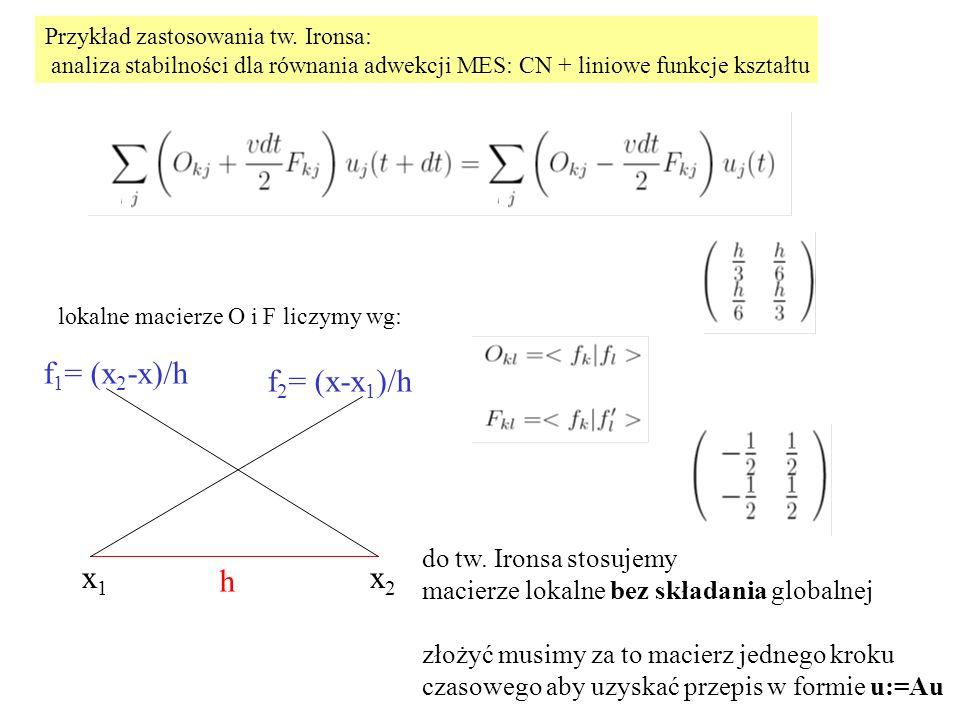 h x1x2x1x2 f 1 = (x 2 -x)/h f 2 = (x-x 1 )/h lokalne macierze O i F liczymy wg: Przykład zastosowania tw. Ironsa: analiza stabilności dla równania adw
