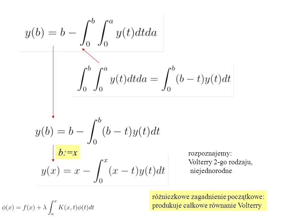 b:=x rozpoznajemy: Volterry 2-go rodzaju, niejednorodne różniczkowe zagadnienie początkowe: produkuje całkowe równanie Volterry