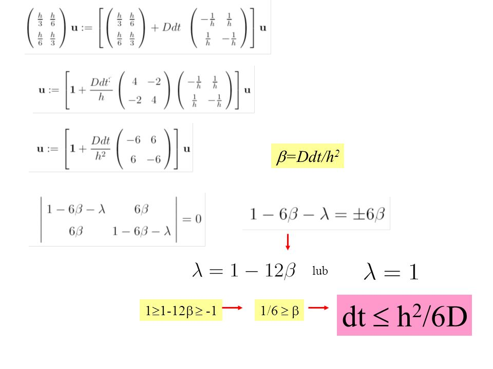 1  1-12  -1 lub 1/6   dt  h 2 /6D  =Ddt/h 2