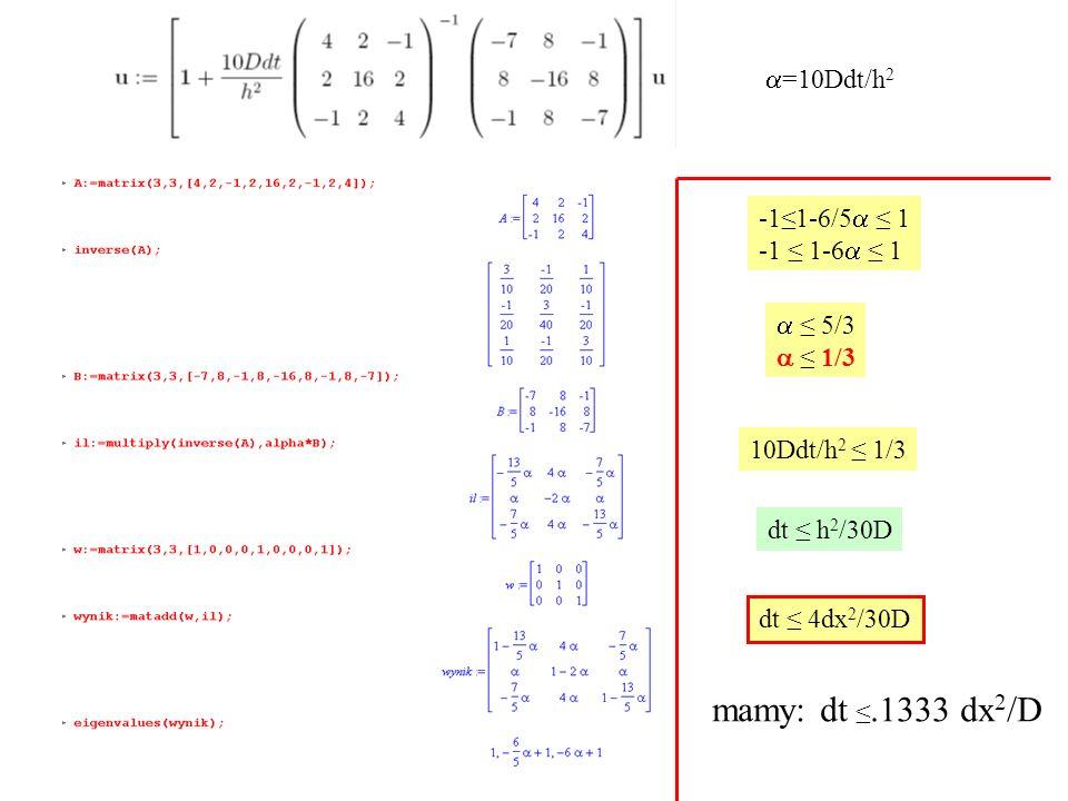 -1≤1-6/5  ≤ 1 -1 ≤ 1-6  ≤ 1  ≤ 5/3  ≤ 1/3 10Ddt/h 2 ≤ 1/3 dt ≤ h 2 /30D dt ≤ 4dx 2 /30D mamy: dt ≤.1333 dx 2 /D