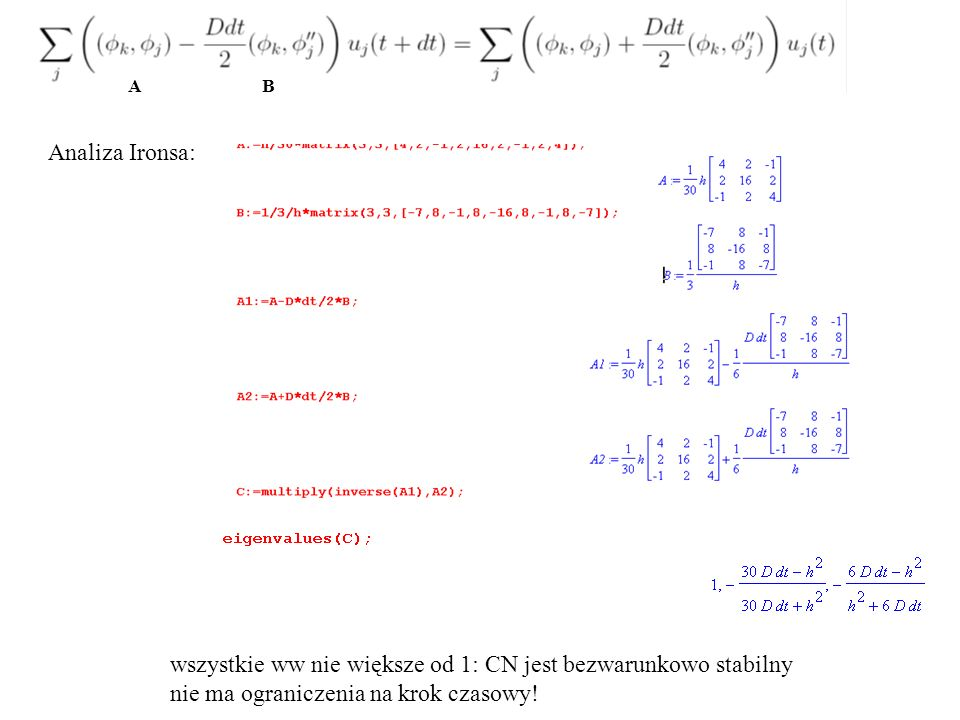 Analiza Ironsa: wszystkie ww nie większe od 1: CN jest bezwarunkowo stabilny nie ma ograniczenia na krok czasowy! A B