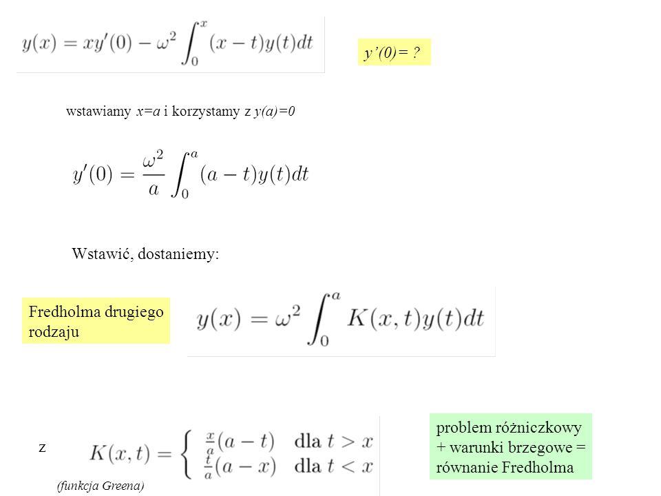 wstawiamy x=a i korzystamy z y(a)=0 y'(0)= ? Fredholma drugiego rodzaju problem różniczkowy + warunki brzegowe = równanie Fredholma z (funkcja Greena)