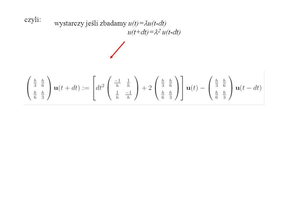 czyli: wystarczy jeśli zbadamy u(t)= u(t-dt) u(t+dt)=   u(t-dt)