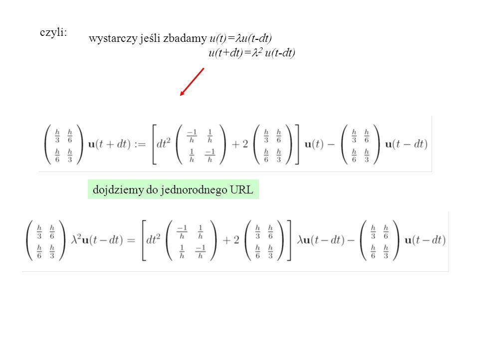 czyli: wystarczy jeśli zbadamy u(t)= u(t-dt) u(t+dt)=   u(t-dt) dojdziemy do jednorodnego URL