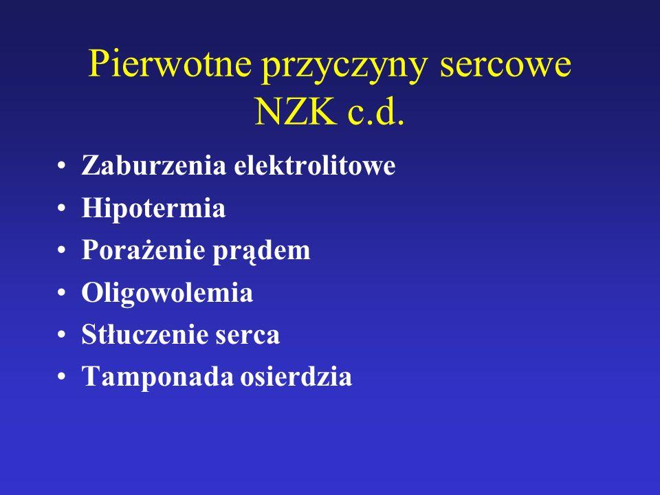 Pierwotne przyczyny sercowe NZK c.d. Zaburzenia elektrolitowe Hipotermia Porażenie prądem Oligowolemia Stłuczenie serca Tamponada osierdzia