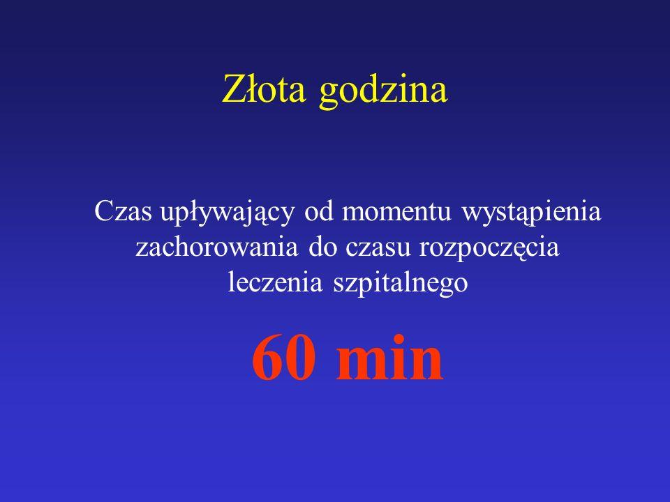 Złota godzina Czas upływający od momentu wystąpienia zachorowania do czasu rozpoczęcia leczenia szpitalnego 60 min