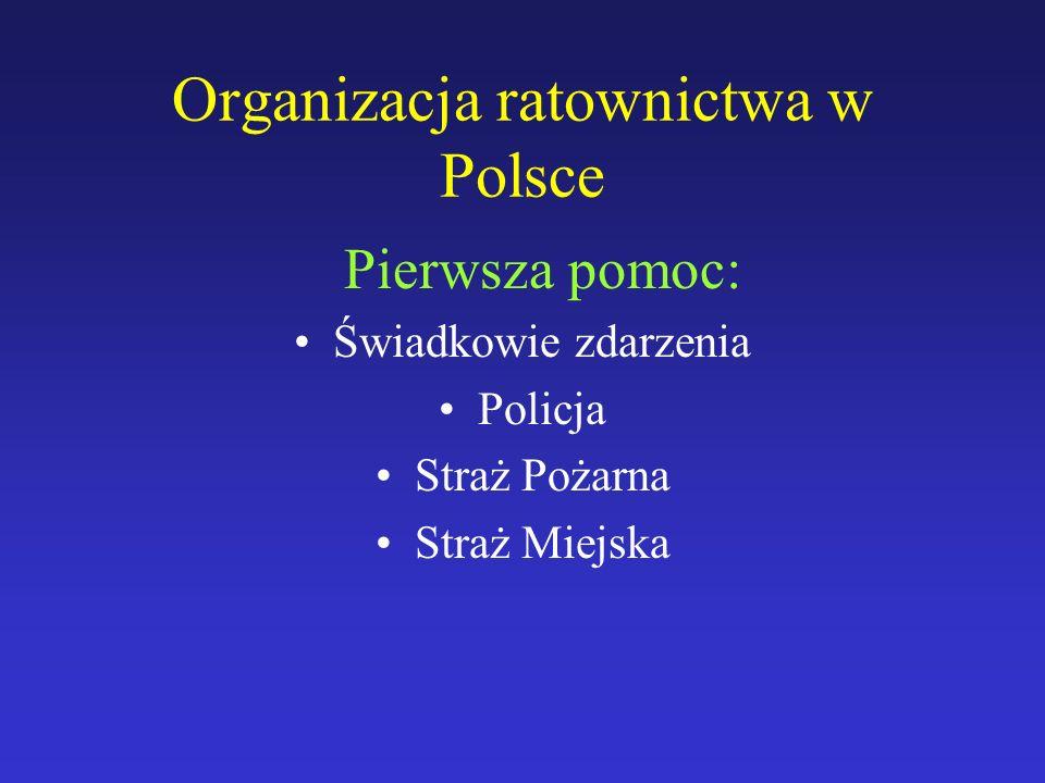Organizacja ratownictwa w Polsce Pierwsza pomoc: Świadkowie zdarzenia Policja Straż Pożarna Straż Miejska