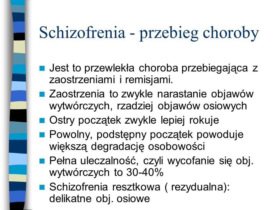 Schizofrenia - przebieg choroby Jest to przewlekła choroba przebiegająca z zaostrzeniami i remisjami. Zaostrzenia to zwykle narastanie objawów wytwórc