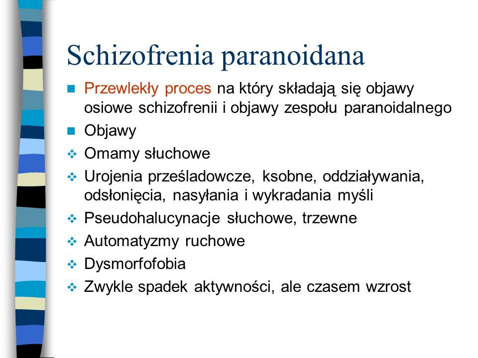 Schizofrenia paranoidana Przewlekły proces na który składają się objawy osiowe schizofrenii i objawy zespołu paranoidalnego Objawy  Omamy słuchowe 
