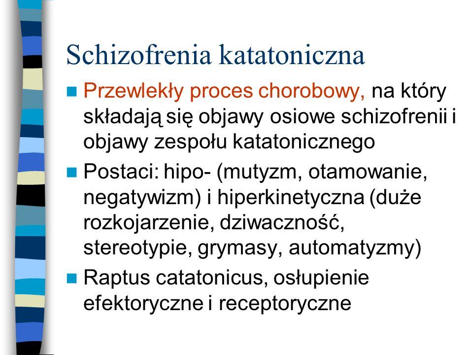 Schizofrenia katatoniczna Przewlekły proces chorobowy, na który składają się objawy osiowe schizofrenii i objawy zespołu katatonicznego Postaci: hipo-